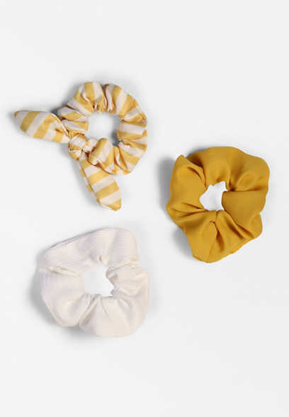 3 Pack Yellow Scrunchie Set