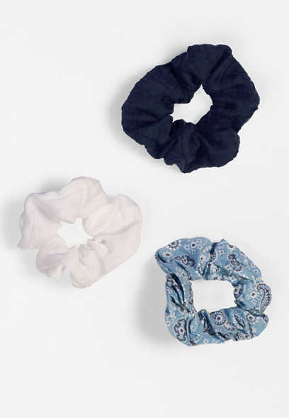 3 Pack Bandana Scrunchie Set