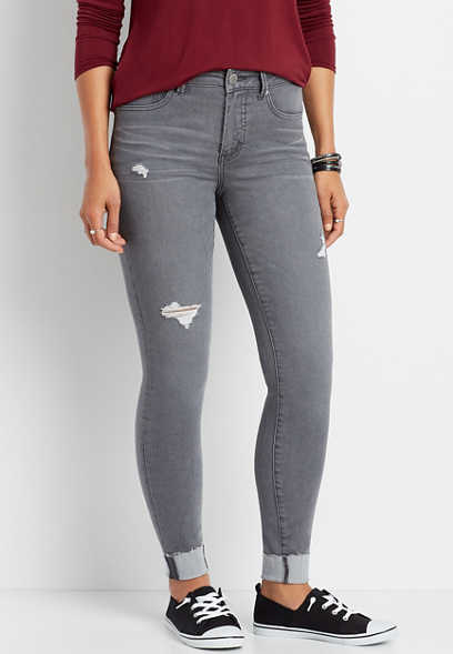 Everflex™ High Rise Gray Destructed Super Skinny Jean