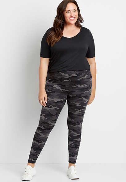 Plus Size High Rise Camo Active Full Length Legging