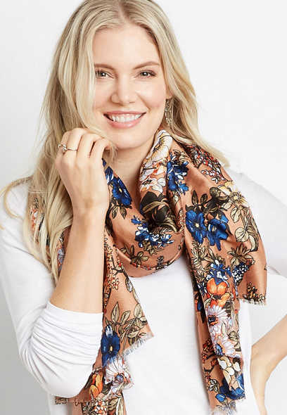 Gold Floral Oblong Scarf
