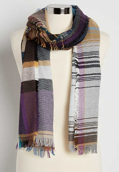 Multi Herringbone Plaid Oblong Scarf