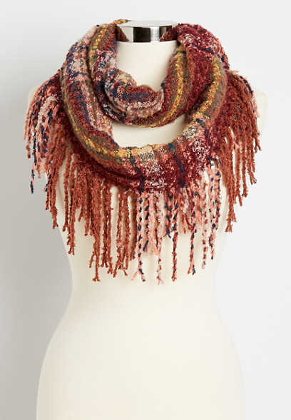 Berry Plaid Fringe Trim Infinity Scarf