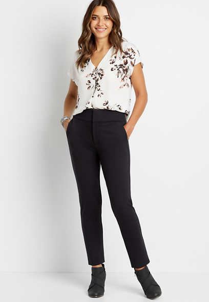 High Rise Black Ponte Ankle Trouser Pant