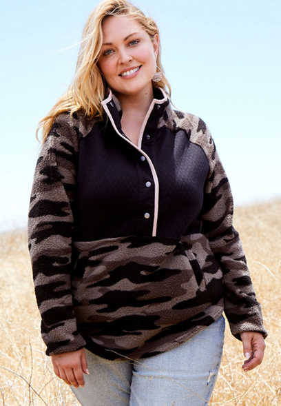 Plus Size Camo Quilted Snap Front Sherpa Pullover Sweatshirt
