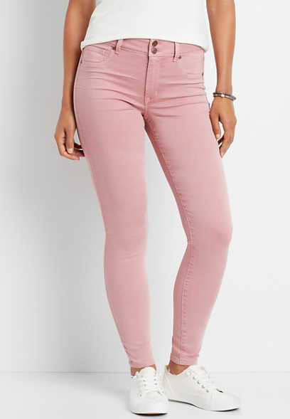 High Rise Double Button Pink Mauve Jegging Made With REPREVE®