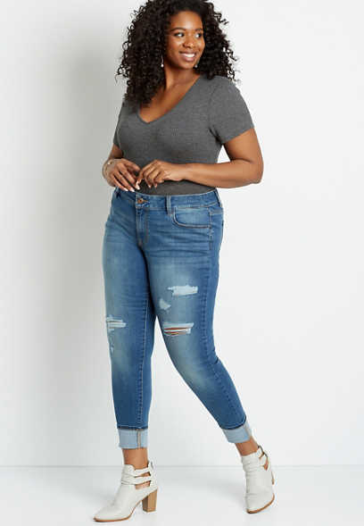 Plus Size High Rise Sandblasted Medium Wash Jegging Made With REPREVE®