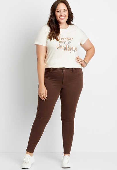 Plus Size High Rise Brown Double Button Jegging Made With REPREVE®
