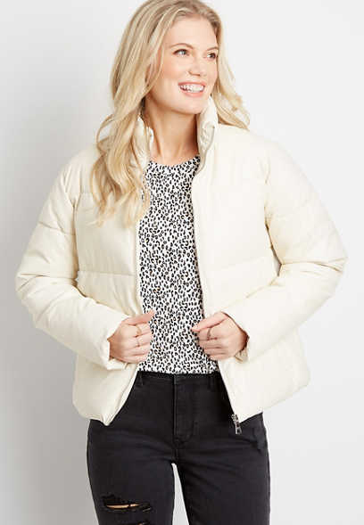 White Short Puffer Outerwear Jacket