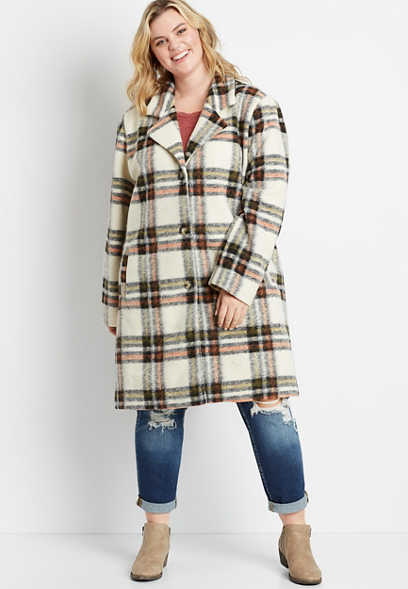 Plus Size White Plaid Long Outerwear Jacket