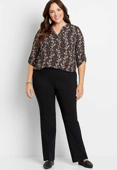 Plus Size High Rise Black Bengaline Stacked Waist Bootcut Pant