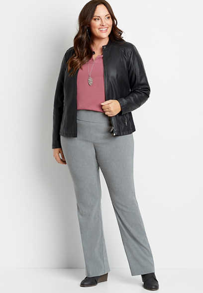 Plus Size High Rise Gray Bengaline Stacked Waist Bootcut Pant