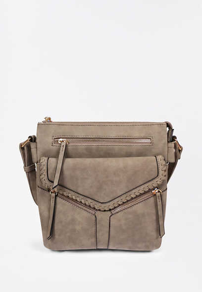 Charcoal Angle Zipper Crossbody Bag