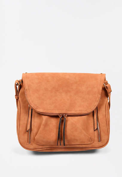 Cognac Crossbody Saddle Bag
