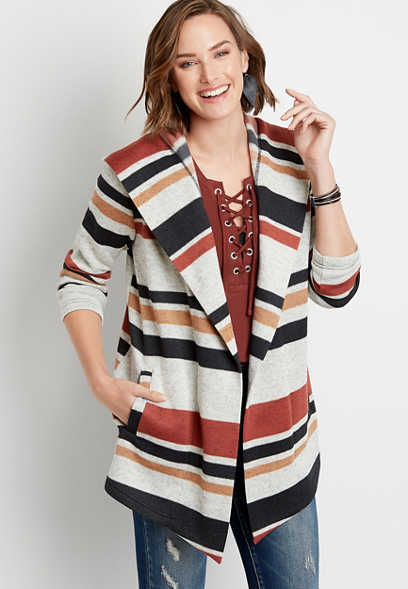 Stripe Open Front Hooded Coatigan