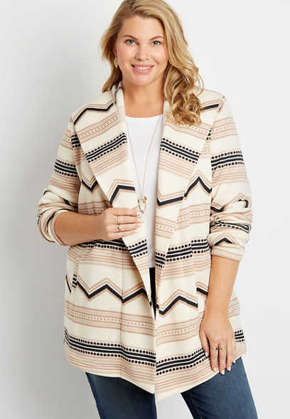 Plus Size Mix Stripe Open Front Hooded Coatigan