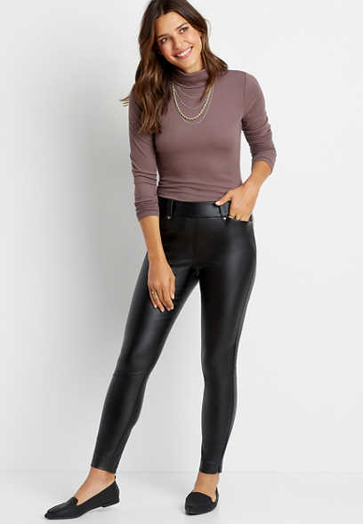 Faux Leather Bengaline Skinny Ankle Pant