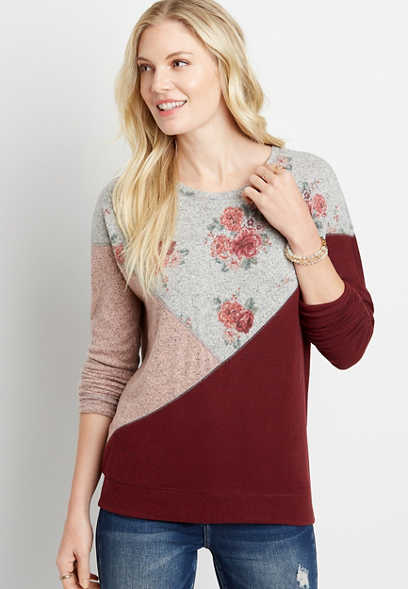 Floral Colorblock Straight Hem Pullover