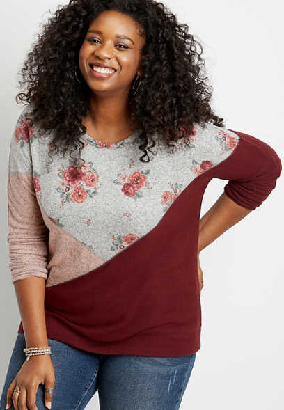 Plus Size Floral Colorblock Straight Hem Pullover