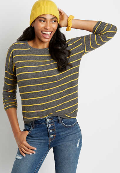 Gold Stripe Straight Hem Pullover