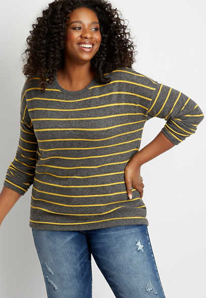 Plus Size Gold Stripe Straight Hem Pullover