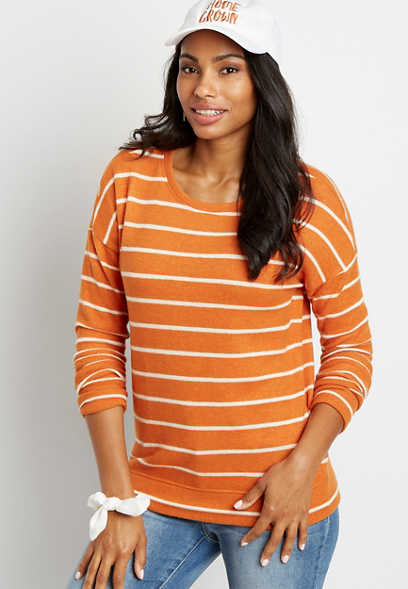 Orange Stripe Straight Hem Pullover