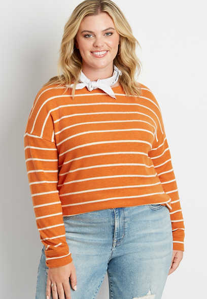 Plus Size Orange Stripe Straight Hem Pullover