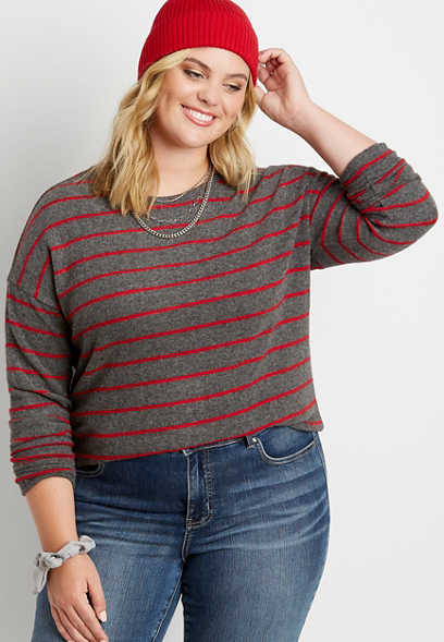 Plus Size Red Stripe Straight Hem Pullover