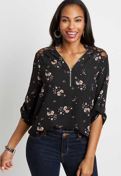 Black Floral Zipper Front Lace Back Blouse
