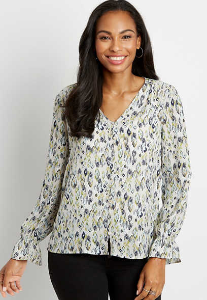 Printed Button Front Flutter Sleeve Blouse