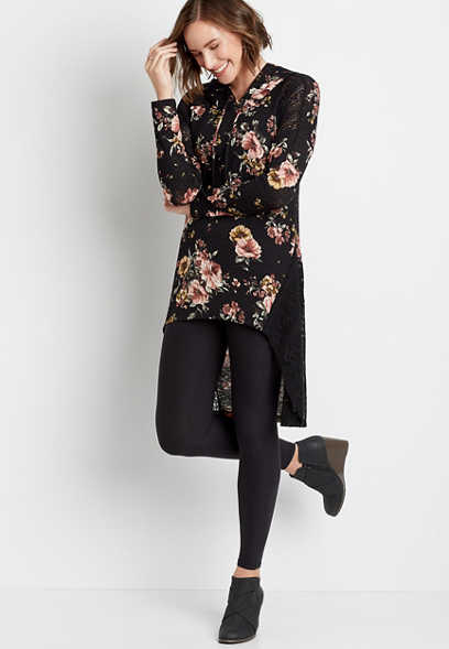Floral Tunic Shirt With Hood
