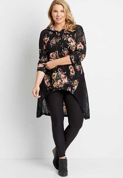 Plus Size Black Floral Hooded Tunic Shirt