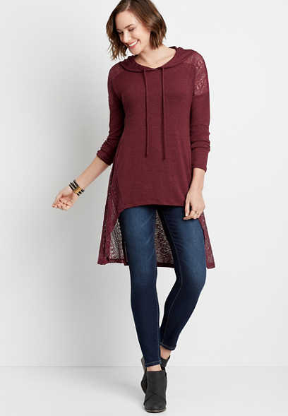 3/4 Sleeve Tunic Shirt With Hood