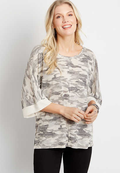 Gray Camo Poncho Top