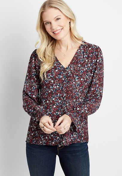 Floral Button Front Flutter Sleeve Blouse