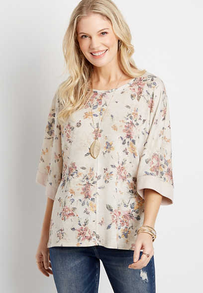 White Floral Poncho Top