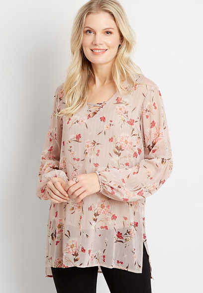 Metallic Floral Lantern Sleeve Lattice Neck Tunic Blouse