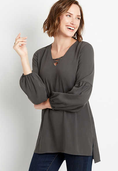 Gray Lantern Sleeve Lattice Neck Tunic Blouse