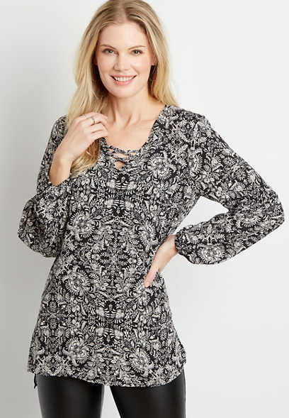 Black Paisley Lantern Sleeve Lattice Neck Tunic Blouse