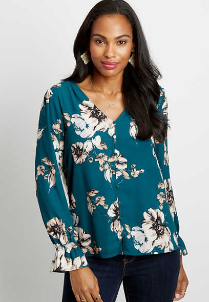 Blue Floral Button Front Flutter Sleeve Blouse