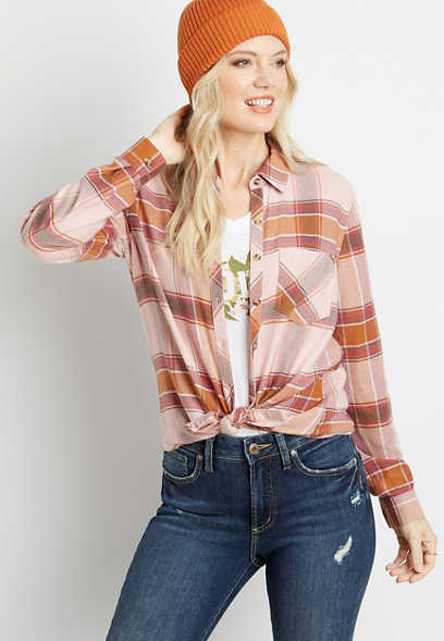 Pink Plaid Button Down Long Sleeve Flannel Shirt
