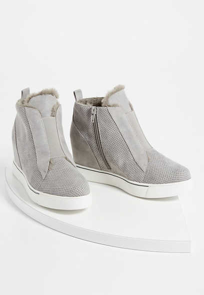 Taylor Gray Faux Fur Lined Sneaker Wedge