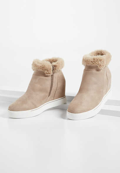 Taryn Taupe Faux Fur Collar Sneaker Wedge