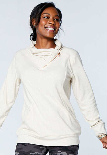 Solid Zipper Cowl Neck Pullover Sweatshirt