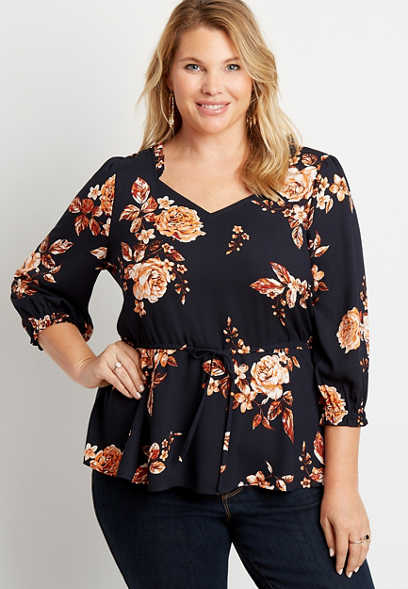 Plus Size Blue Floral Cinched Waist Ruffle Neck Peasant Top