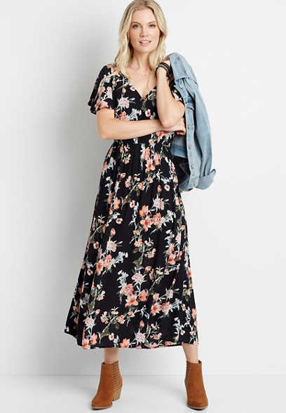 Black Floral V Neck Flutter Sleeve Midi Dress