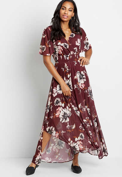 Berry Floral Smocked Waist Maxi Dress