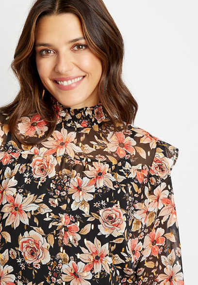 Black Floral Smocked Neck Long Sleeve Blouse