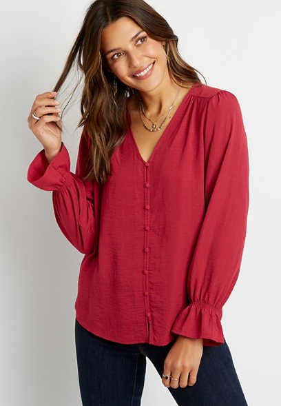 Solid Button Front Flutter Sleeve Blouse