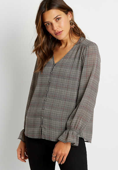 Plaid Button Front Flutter Sleeve Blouse